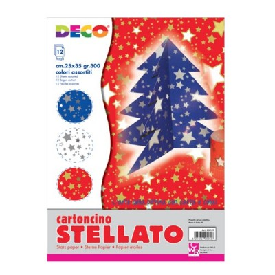 CARTONCINI STELLE CM25x35 - CONF 12 PZ - COLORI ASSORTITI