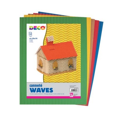 CARTONE ONDULATO WAVES - BS 10 FG CM 50X70 COLORI ASSORTITI