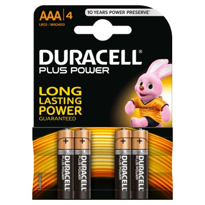 BATTERIE MINISTILO DURACELL ALKALINE PLUS POWER 4 AAA STILO 1,5v  4 PZ